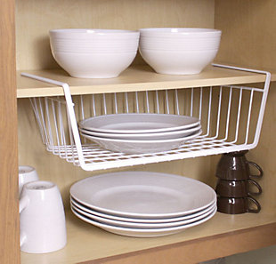 Home Basics Instant Storage Large Under the Shelf  Rust-Proof Wire Vinyl Coated Steel Basket Organizer, White, , large