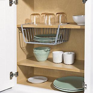 Home Basics Small Under Shelf Vinyl Coated Steel Basket, Silver, , rollover