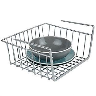 Home Basics Small Under Shelf Vinyl Coated Steel Basket, Silver, , large