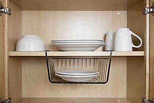 Home Basics Small Under the Shelf Basket, Black Onyx, , large