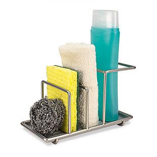 Home Basics 3 compartment Satin Nickel Sink Organizer, , large