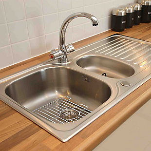 Home Basics Small Rubber Coated Chrome Plated Steel Sink Protector, , rollover