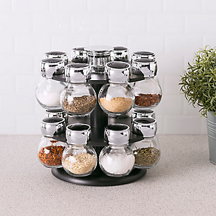 Home Basics 16 Piece Revolving Spice Rack, Black, , rollover