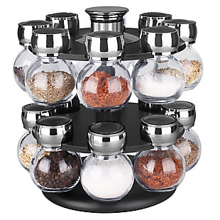 Home Basics 16 Piece Revolving Spice Rack, Black, , large