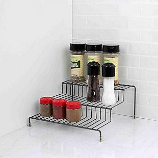 Home Basics 3 Tier Steel Seasoning Rack, Black Onyx, , large