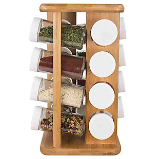 Home Basics 16 Piece Bamboo Revolving Spice Rack, , large