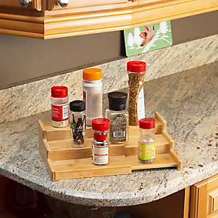 Home Basics Expandable 3 Tier Step Seasoning and Spice Organizer, Natural, , rollover