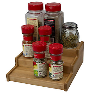 Home Basics Expandable 3 Tier Step Seasoning and Spice Organizer, Natural, , large