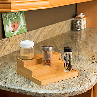 Home Basics 3 Tier Bamboo Spice Rack, Natural, , rollover