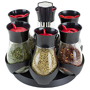 Home Basics Contemporary Gourmet Revolving 6-Jar Spice Rack, Black, , large