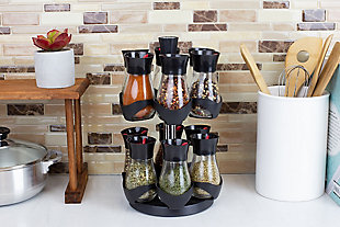 Home Basics Contemporary Gourmet Revolving 12-Jar Two Tier Spice Rack, Black, , rollover