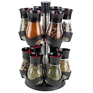 Home Basics Contemporary Gourmet Revolving 12-Jar Two Tier Spice Rack, Black, , large