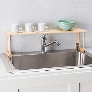 Home Basics Space-Saving Oak Wood Over the Sink Multi-Use Shelf, , rollover