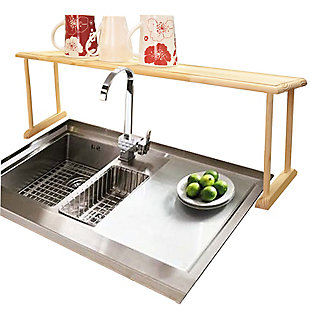 Home Basics Space-Saving Oak Wood Over the Sink Multi-Use Shelf, , large