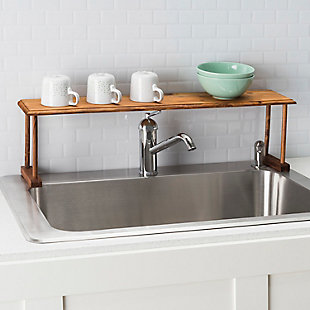 Home Basics Space-Saving Pine Wood Over the Sink Multi-Use Shelf, , rollover