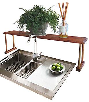 Home Basics Space-Saving Pine Wood Over the Sink Multi-Use Shelf, , large