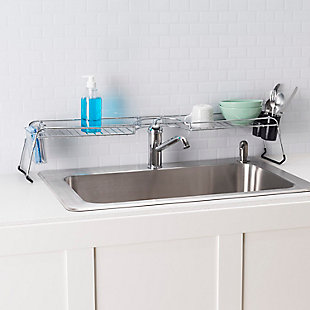 Home Basics Chrome Plated Steel  Faucet Spacer Over the Sink Shelf with Cutlery Holder, , rollover