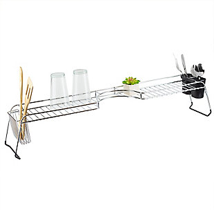 Home Basics Chrome Plated Steel  Faucet Spacer Over the Sink Shelf with Cutlery Holder, , large