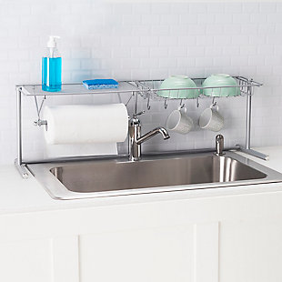 Home Basics Over the Sink Counter Kitchen Station, Chrome, , rollover