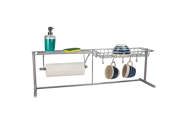 Home Basics Over the Sink Counter Kitchen Station, Chrome, , large