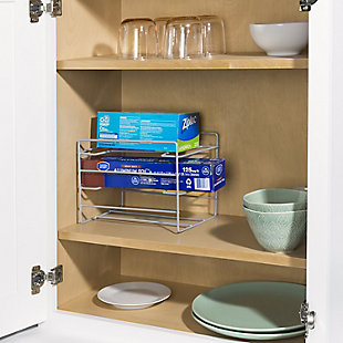 Home Basics Vinyl Coated Steel Standing Wrap Organizer, Silver, , rollover