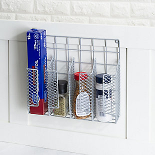 Home Basics Over the Cabinet Vinyl Coated Steel Wrap Organizer, Silver, , rollover