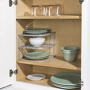 Home Basics Heavy Weight Vinyl Coated Steel Corner Shelf, Silver, , rollover