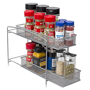 Home Basics 2 Tier Mesh Steel Helper Shelf with Removable Sliding Baskets, Silver, , large