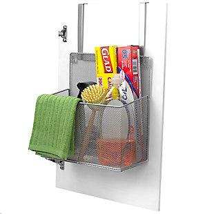 Home Basics Over the Cabinet Mesh Steel Basket, Silver, , large