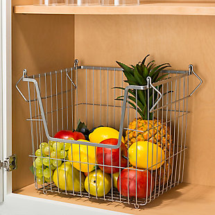 Home Basics Steel Wire Large Stackable Basket with Handles, Gray, , rollover