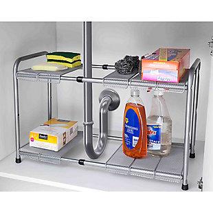 Home Basics 2-Tier Adjustable Cabinet Organizer, , large