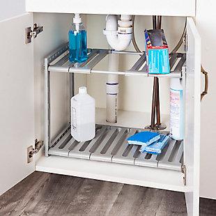 Home Basics 2 Tier Adjustable Multi-Functional Plastic Under Sink Organizer, Gray, , rollover