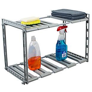 Home Basics 2 Tier Adjustable Multi-Functional Plastic Under Sink Organizer, Gray, , large