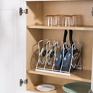 Home Basics Vinyl Coated Steel Pan Wall Mounted Pan and Lid Rack Organizer, White, , rollover