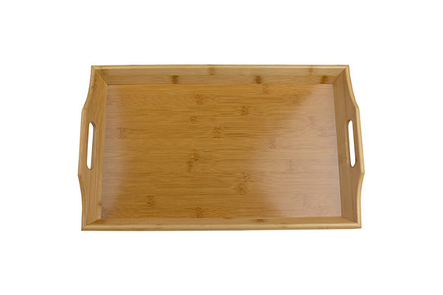 Home Basics Curved Bamboo Serving Platter Tray with Easy Grip Cut-Out Handles, Natural, , large