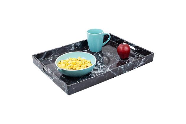 Home Basics Faux Marble Vanity Tray, Black, , large