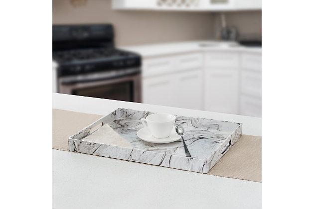 Home Basics Faux Marble Vanity Tray, White, , large