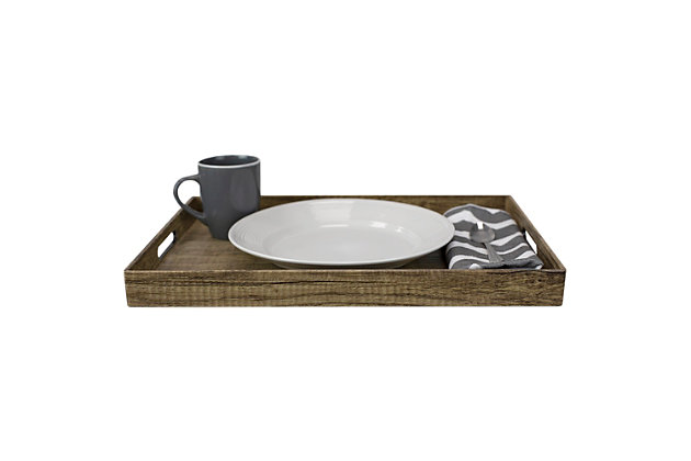 Home Basics Wood-Like Rustic Serving Tray with Cut-Out Handles, Brown, , large