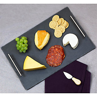 Home Basics Slate Serving Tray with Stainless Steel Handles, Black, , rollover