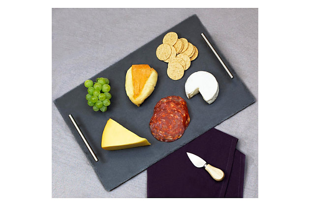 Home Basics Slate Serving Tray with Stainless Steel Handles, Black, , large