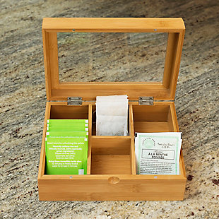 Home Basics 6  Compartment Bamboo Tea Bag and Coffee Accessories Storage Display Chest Organizer with Transparent Glass Lid, Natural, , rollover