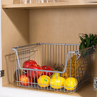Home Basics Large Powder Coated Steel Wire Storage Basket, Gray, , rollover