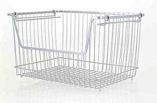 Home Basics Large Powder Coated Steel Wire Storage Basket, Gray, , large
