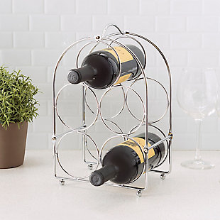 Home Basics Chrome Plated Steel 5 Bottle Wine Rack, , rollover