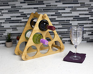 Home Basics 9 Slot Foldable Tiered Bamboo Wine Rack, Natural, , rollover