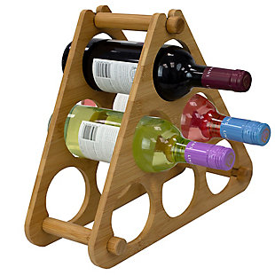 Home Basics 9 Slot Foldable Tiered Bamboo Wine Rack, Natural, , large