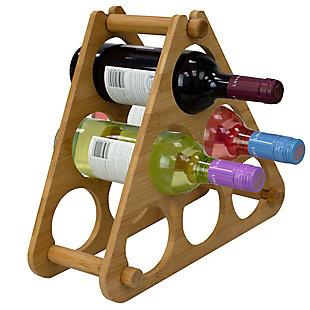 Home Basics 9 Slot Foldable Tiered Bamboo Wine Rack, Natural, , large