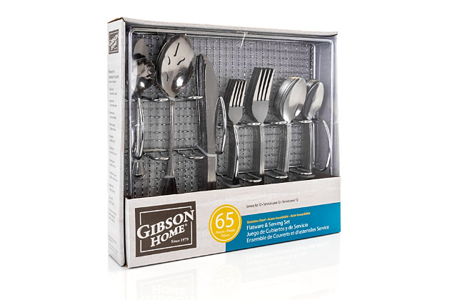 Gibson Home South Bay 65 Piece Stainless Steel Flatware Service Set with Wire Caddy, , large
