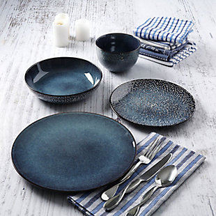 Gibson Elite Matisse 16-Piece Double Bowl Dinnerware Set, Cobalt, , rollover
