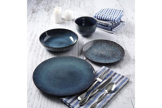 Gibson Elite Matisse 16-Piece Double Bowl Dinnerware Set, Cobalt, , large